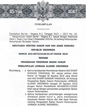 Berita Negara RI No. 16 Tahun 2017