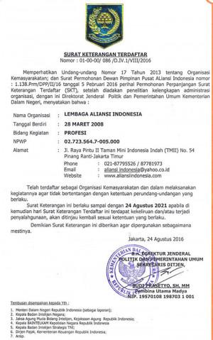 SKT Lembaga Aliansi Indonesia