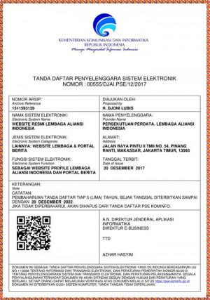 Tanda Daftar Website Lembaga Aliansi Indonesia